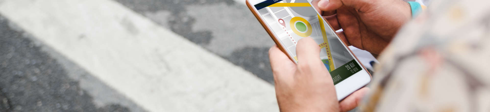 person checking location on map in his smartphone